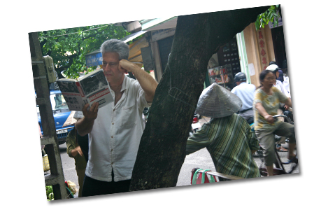 Eric reading my book, Underground, in Hanoi