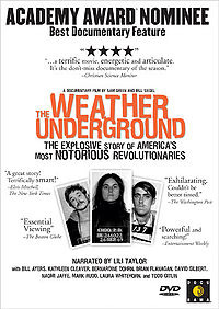 DVD cover design for the documentary film 'The Weather Underground', with title, reviews and mugshots